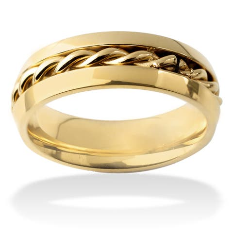 Men's Stainless Steel Polished Twisted Rope Inlay Band Ring