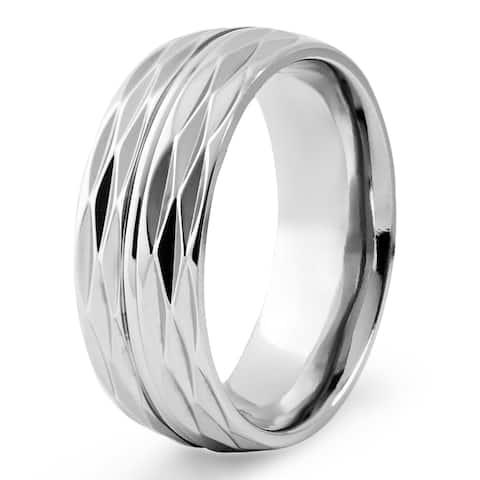 Men's Titanium Honeycomb Texture Ring - White
