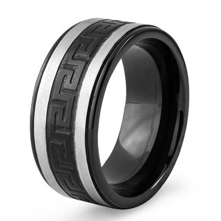 Link to Men's Two-Tone Stainless Steel Greek Key Band Ring - Black Similar Items in Men's Jewelry