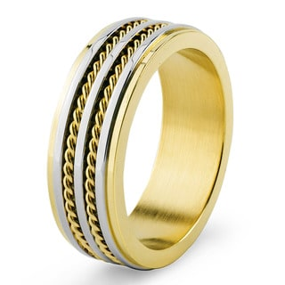 Men's Two-Tone Stainless Steel Grooved and Double Twisted Rope Inlay Band Ring