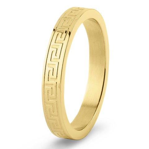 Men's Gold Plated Stainless Steel Dual Finish Greek Key Ring