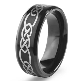 Men's Blackplated Stainless Steel Braided Celtic Knot Comfort Fit Ring