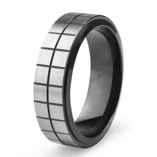 Men's Blackplated Brushed Stainless Steel Square Texture Designed Ring - Black