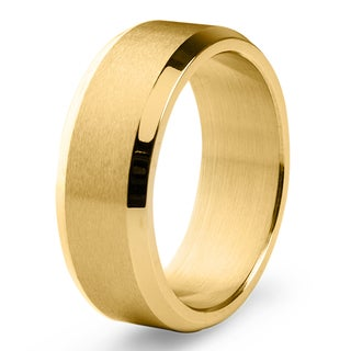 Men's Goldplated Stainless Steel Satin and High Polished Ring - White