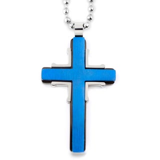 Men's Blue Plated Stainless Steel Brushed and Polished Cross Pendant