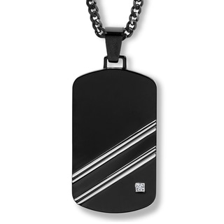 Crucible Blackplated Stainless Steel Polished Cubic Zirconia Dog Tag Pendant