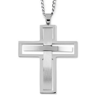 Men's Stainless Steel Dual Finish Cross Cut-Out Pendant