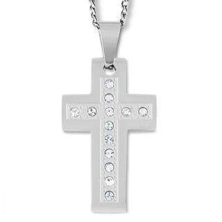 Men's Stainless Steel Cubic Zirconia Cross Pendant