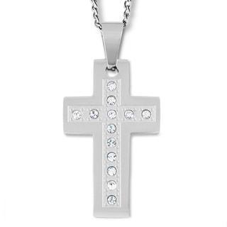 Stainless Steel Cubic Zirconia Cross Pendant