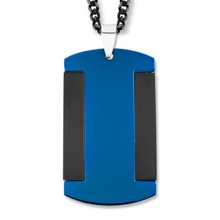 Crucible Blueplated Stainless Steel Polished Dog Tag Pendant