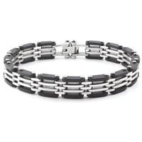 Crucible Two-Tone Stainless Steel Rubber Link Bracelet