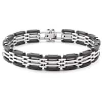 Crucible Two-Tone Stainless Steel Rubber Link Bracelet - Black