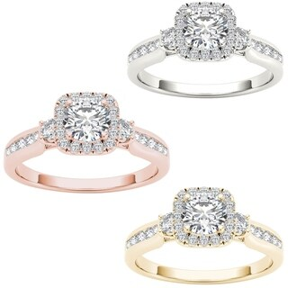 De Couer 14k Gold 7/8ct TDW Diamond Halo Engagement Ring