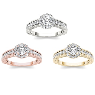 De Couer 14k Gold 1ct TDW Diamond Halo Engagement Ring