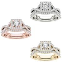 De Couer 14k Gold 1ct TDW Princess Diamond Ring