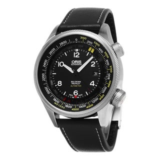 Oris Men's 'Big Crown ProPilot Altimeter' Black Dial Green Fabric Strap Swiss Autom