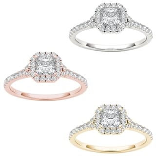 De Couer 14k Gold 3/4ct TDW Diamond Halo Engagement Ring (Option: 8.25)|https://ak1.ostkcdn.com/images/products/10436276/P17533539.jpg?impolicy=medium