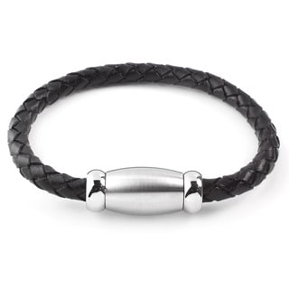 Men's Stainless Steel Brushed Finish Black Braided Leather Bracelet