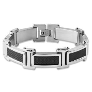 Crucible Stainless Steel Black Carbon Fiber Link Bracelet