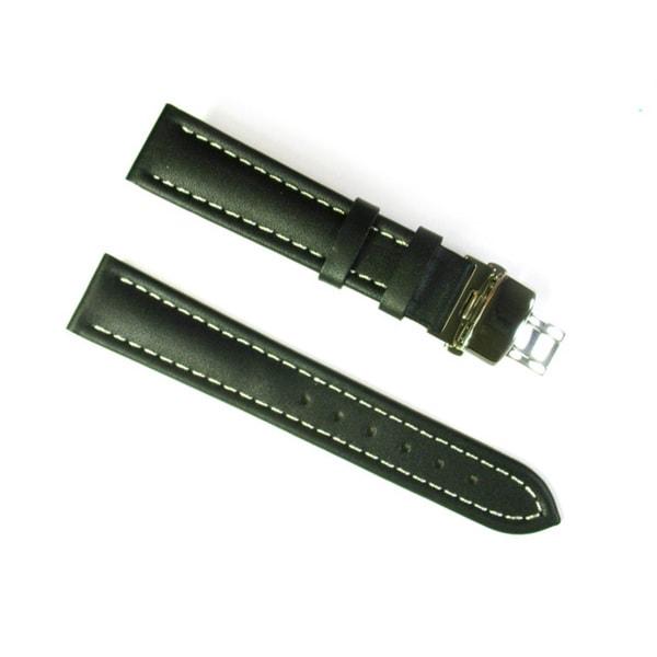 Banda Italian Calf Leather Black Waterproof Watch Strap
