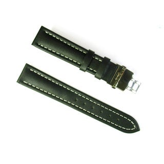 Banda Italian Calf Leather Black Waterproof Watch Strap