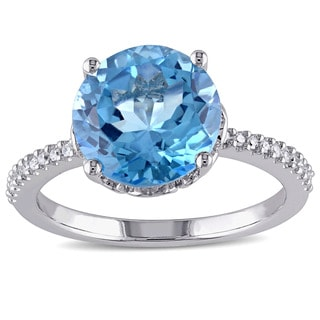 Miadora 10k White Gold Blue Topaz and 1/10ct TDW Diamond Ring (G-H, I2-I3)
