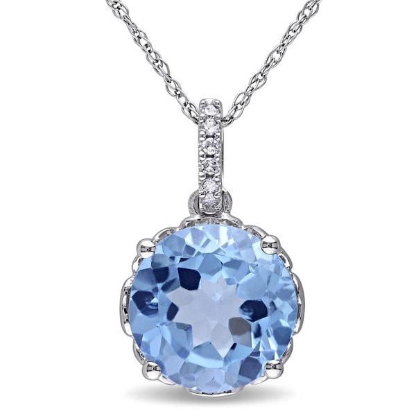Miadora 10k White Gold Blue Topaz and Diamond Accent Necklace