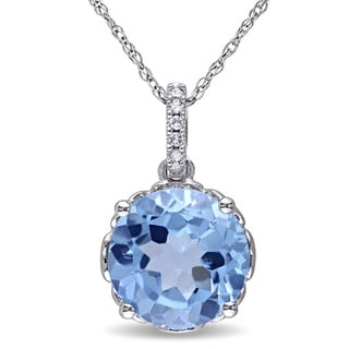 Miadora 10k White Gold Blue Topaz and Diamond Accent Necklace