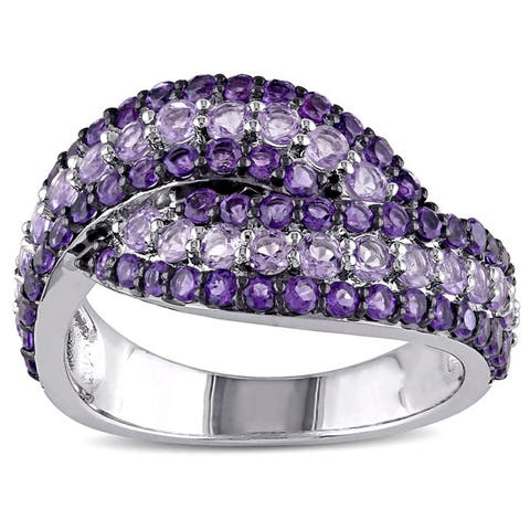 Miadora Sterling Silver Amethyst-Africa and Rose de France Bypass Ring