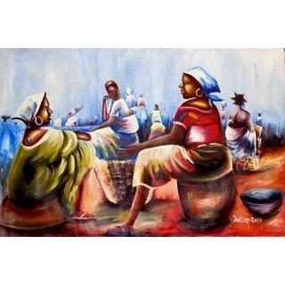 Handmade Kasewa Market Scene Canvas Painting (Ghana)