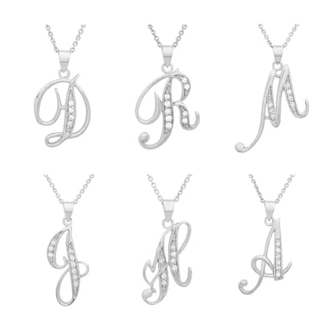 Sterling Silver 18-inch Cubic Zirconia Script Initial Necklace