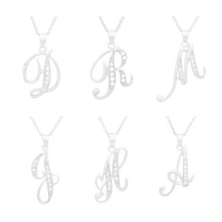 Sterling Silver 18-inch Cubic Zirconia Script Initial Necklace (More options available)