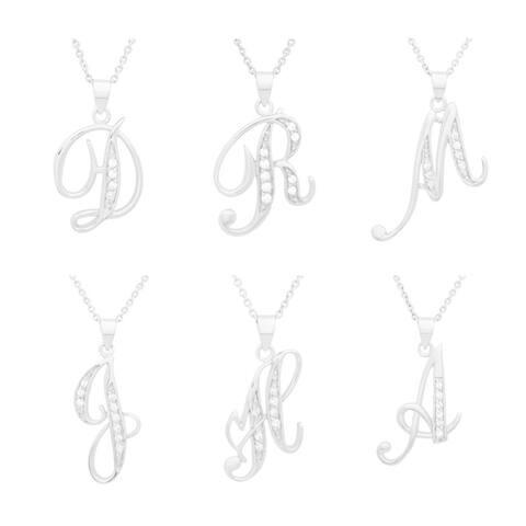 Roberto Martinez Sterling Cubic Zirconia Script Initial Necklace