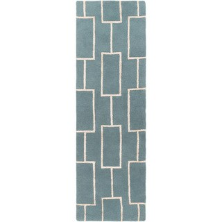 Hand-Tufted Hunter Geometric Pattern Viscose Rug (2'6 x 8')