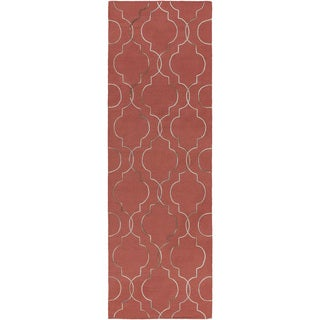 Hand-Woven Jaelyn Geometric Pattern Wool Rug (2'6 x 8')