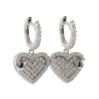 Luxiro Sterling Silver Micropave Cubic Zirconia Heart Dangle Earrings