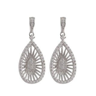 Luxiro Sterling Silver Cubic Zirconia Radial Teardrop Dangle Earrings