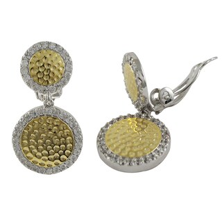 Luxiro Two-tone Sterling Silver Cubic Zirconia Hammered Clip-on Earrings