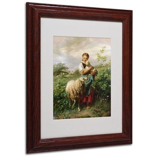Johann Hofner 'The Shepherdess 1866' White Matte, Wood Framed Wall Art