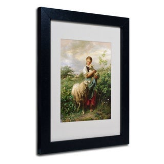 Johann Hofner 'The Shepherdess 1866' White Matte, Black Wood Framed Wall Art