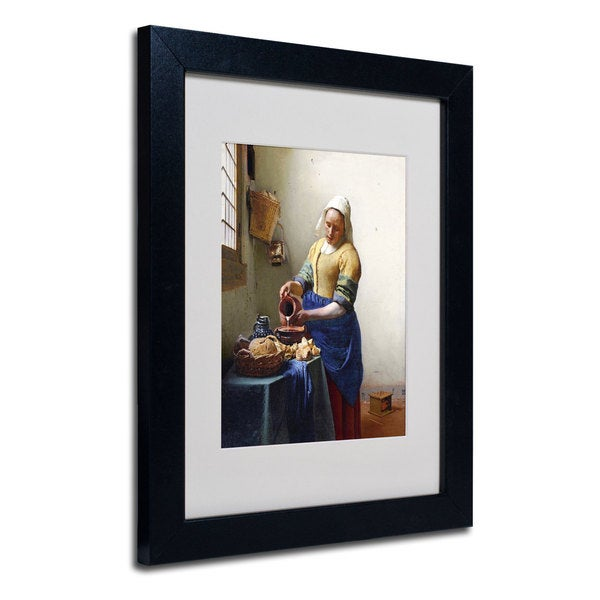 Jan Vermeer u0026#39;The Milkmaid 1658-60u0026#39; White Matte, Black Wood Framed Wall Art - Free Shipping Today ...