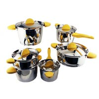 Berghoff Stacca 11-piece Cookware Set with Yellow Rubber Handles