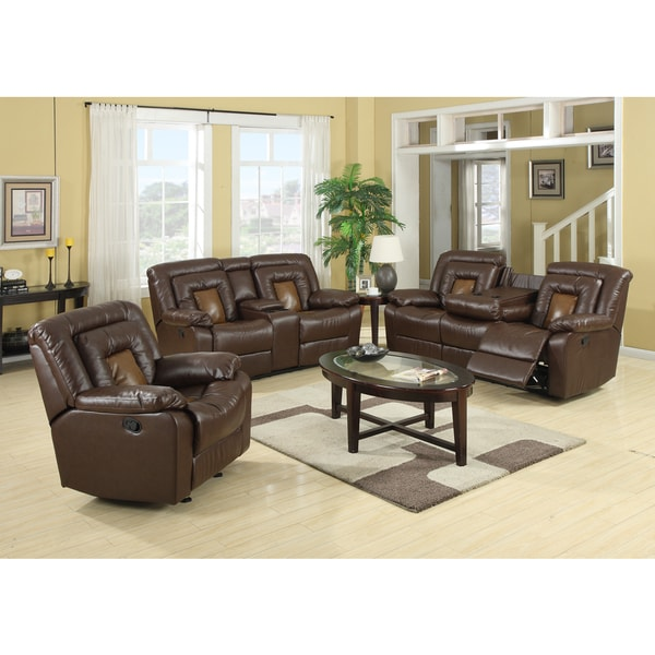 Kmax 2-Toned Dual Reclining Sofa and Loveseat Set with Drop Console