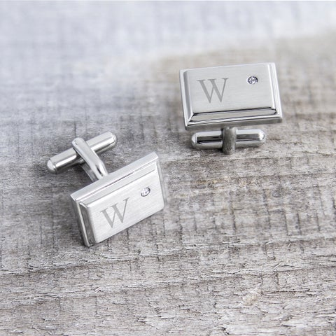 Stainless Steel Personalized Zircon Jewel Stainless Steel Initial Cufflinks