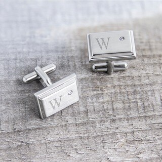 Stainless Steel Personalized Zircon Jewel Stainless Steel Initial Cufflinks (More options available)