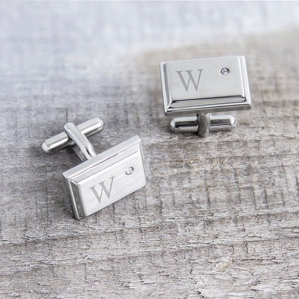 Stainless Steel Personalized Zircon Jewel Stainless Steel Initial Cufflinks. Opens flyout.