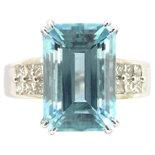 Kabella 14k White Gold Emerald-cut Aquamarine 2/5ct TDW Diamond Ring (G-H, SI2-SI3) (Size 6.5)