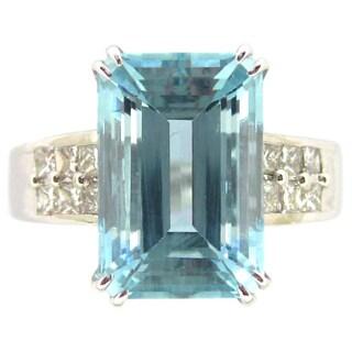 Kabella 14k White Gold Emerald-cut Aquamarine 2/5ct TDW Diamond Ring (G-H, SI2-SI3) (Size 6.5)