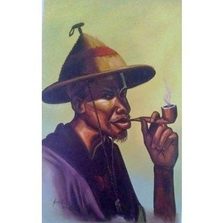 Handmade The African Tribesman Man Canvas Painting (Ghana)