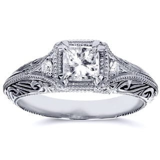Annello 14k White Gold 5/8ct TDW Diamond Antique Filigree Engagement Ring